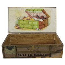 "Turn of Century ""Treasury"" Wooden Cigar Box"
