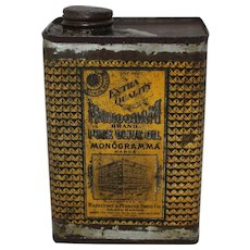 """Early 1900's """"Monogram Brand"""" Pure Olive Oil Tin"""