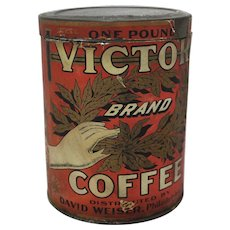 "Early 1900's ""Victor Brand"" Coffee Tin"