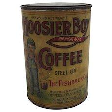 """Rare """"Hoosier Boy"""" 1 lb. Coffee Tin"""