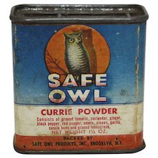 "Vintage ""Safe Owl"" Currie Powder Spice Container"
