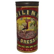 """Late1800's """"Oiline"""" Boot & Shoe Dressing Cardboard Container"""