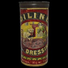 "Late1800's ""Oiline"" Boot & Shoe Dressing Cardboard Container"