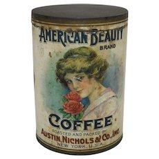 "Early Rare ""American Beauty Brand""  Coffee Tin"