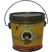 """Early 1900's """"Louis Brand"""" Peanut Butter Tin Pail"""
