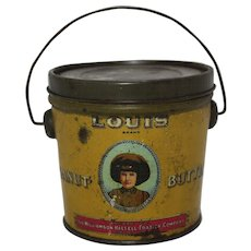 "Early 1900's ""Louis Brand"" Peanut Butter Tin Pail"