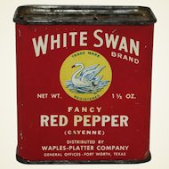 "Vintage ""White Swan"" Red Pepper Tin Spice Container"