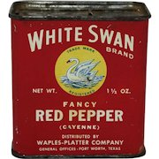 """Vintage """"White Swan"""" Red Pepper Tin Spice Container"""