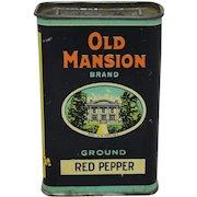 """Vintage """"Old Mansion"""" Red Pepper Spice Tin"""