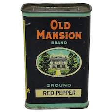 "Vintage ""Old Mansion"" Red Pepper Spice Tin"