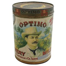 "Circa: 1953 Paper Labeled ""Optimo"" Cigar Tin Container"