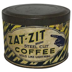 "Vintage ""Zat-Zit"" 1 lb. Coffee Can"