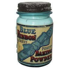 """Vintage """"Blue Ribbon"""" Baking Powder in Ball Jar"""