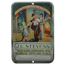 """Old Judson Whiskey"" Litho Tin Match Holder"