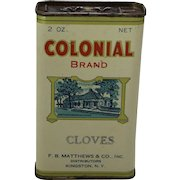 "Vintage ""Colonial"" Cloves Spice Container"