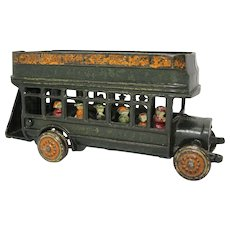 "Rare ""Freidag"" 9""  Double Decker Cast Iron Bus"