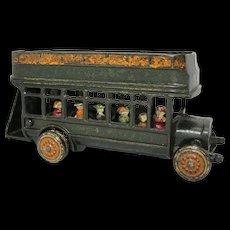 """Rare """"Freidag"""" 9""""  Double Decker Cast Iron Bus"""