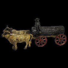 Early Kenton Cast Iron 2 Oxen Log Wagon