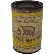 """Vintage """"Regoes"""" Old Fashioned Sausage Seasoning Tin"""