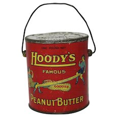 "Early ""Hoody's"" Peanut Butter Tin Pail"
