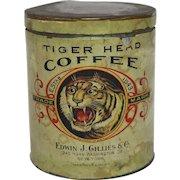 "Rare Turn of the Century ""Tiger Head"" 2 lb. Coffee Tin"