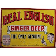 """1920's """"Real English Ginger Beer"""" Embossed Tin Sign"""