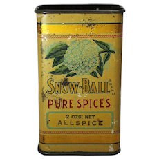 "Early 1900's  ""Snow-Ball"" Spice Litho Tin"