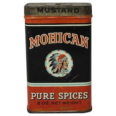 "Vintage ""Mohican"" Mustard Spice Litho Tin"