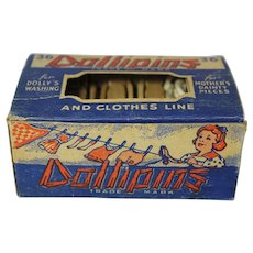 "Vintage Box of ""Dollipins"" Wooden Clothes Pins"