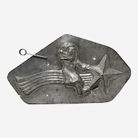 "1950 French ""Santa Riding Shooting Star"" Chocolate Mold"