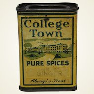 "Vintage ""College Town"" Ginger Spice Tin"
