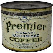 """1930's 'Premier"""" Brand Key Wind Coffee Tin"""