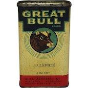 Rare 'Great Bull Brand' Litho Spice Tin