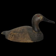 Early 1920's St. Clair Flats Michigan Canvasback Drake Decoy