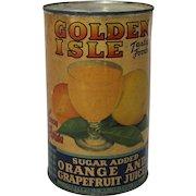 1940's, 50's Golden Isle Orange and Grapefruit Juice Can