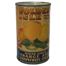 1940's, 50's Golden Isle Orange and Grapefruit Juice Can
