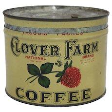 1930's, 40's Clover Farm Key-Wind Coffee Tin