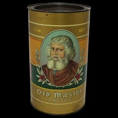 Early Large 3 Pound Old Master Coffee Tin