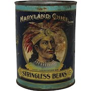 """Early 1900's 'Maryland Chief"""" Vegetable Can"""