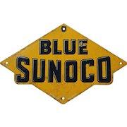 1920's Blue Sunoco Porcelain Gas Pump Plate
