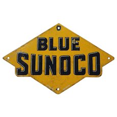 1920's Blue Sunoco Porcelain Gas Pump Plate