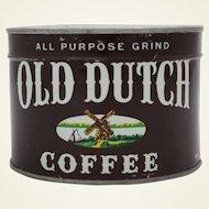 1940'S, 50'S  Unopened Old Dutch Key Wind Coffee Tin