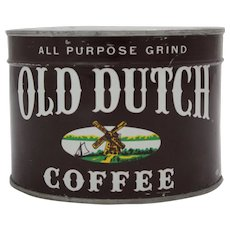 1940'S, 50'S  Unopened Old Dutch Key Wind Coffee Tin