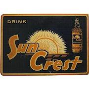 Rare 1950's Sun Crest 2 Sided Metal Flange Sign