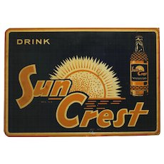 Rare 1950's Sun Crest 2 Sided Metal Flange Sign