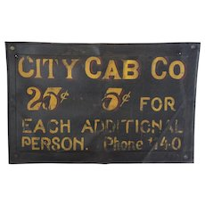 "Rare 1915-1925  ""City Cab Co."" Leather Sign"