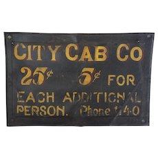 "Rare 1915-1925  ""City Cab Co."" Leather Sign"