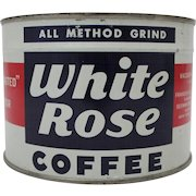 "Vintage Unopened Key Wind ""White Rose"" Coffee Tin"