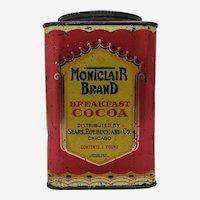 Early Sears, Roebuck & Co. Montclair Brand 1 lb. Cocoa Tin