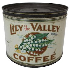 """Early Key Wind """"Lily of the Valley Brand"""" 1 lb. Coffee Tin"""